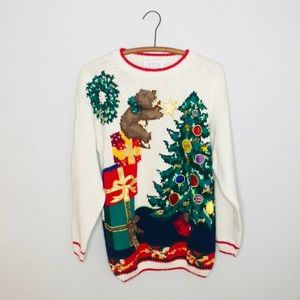 Vintage Retro Tacky Embroidered Christmas Sweater